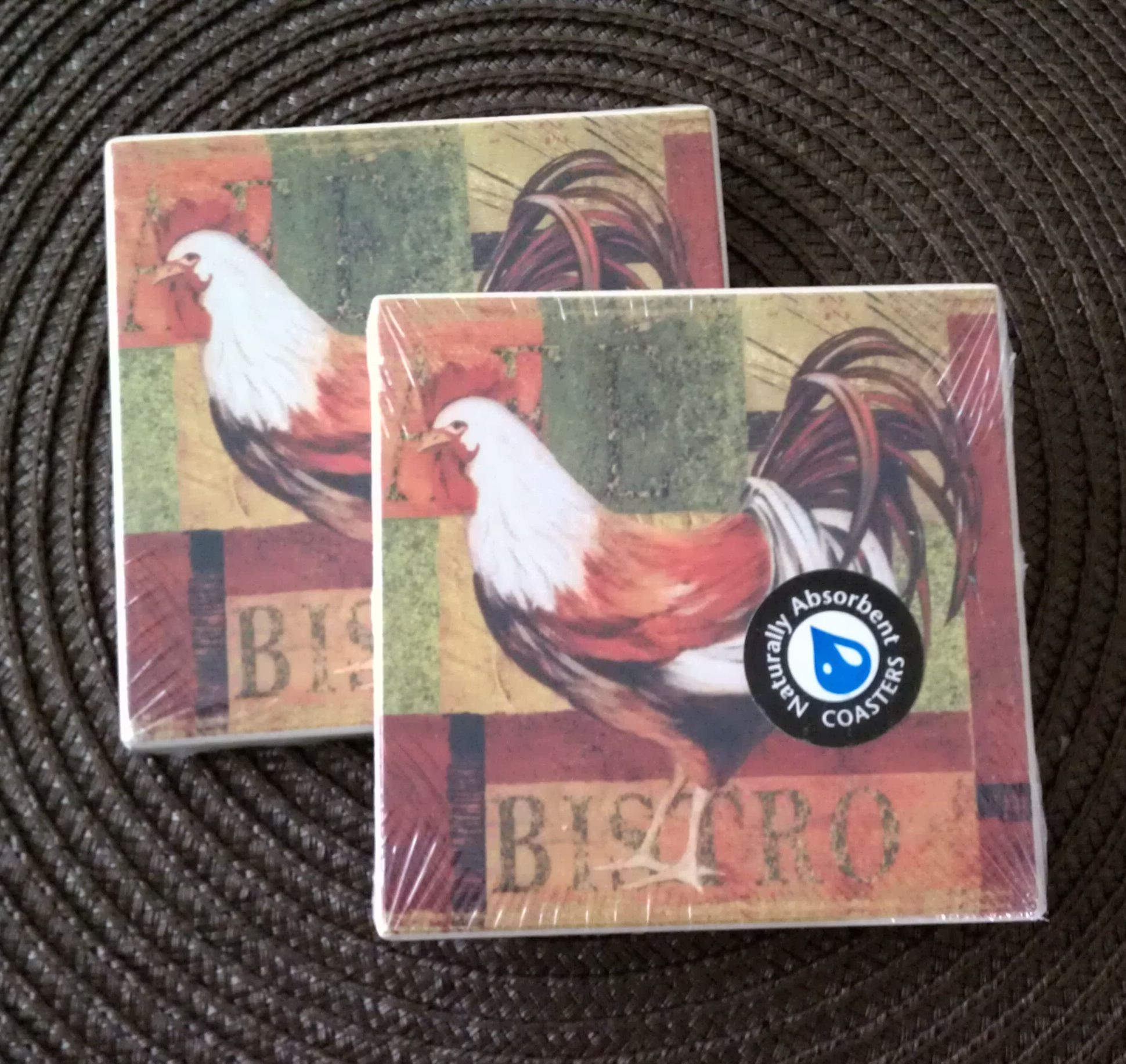 Natural absorbent stone bistro rooster cork bottom coasters set of two ebay - Stone absorbent coasters ...